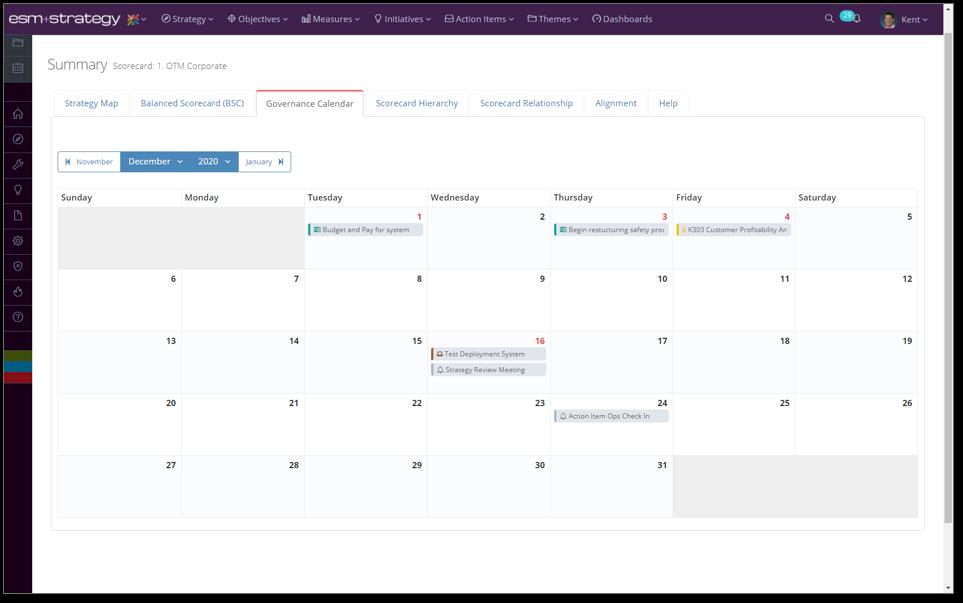 Screenshot +Strategy - Governance Calendar