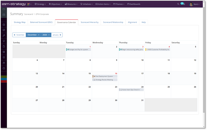 Screenshot +Strategy - Governance Calendar
